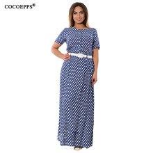 Cocoepps Лето в горошек Для женщин макси платье 2018 плюс Размеры элегантный Пояса женские длинные платья большой Размеры Дамы Большой Размеры Vestidos