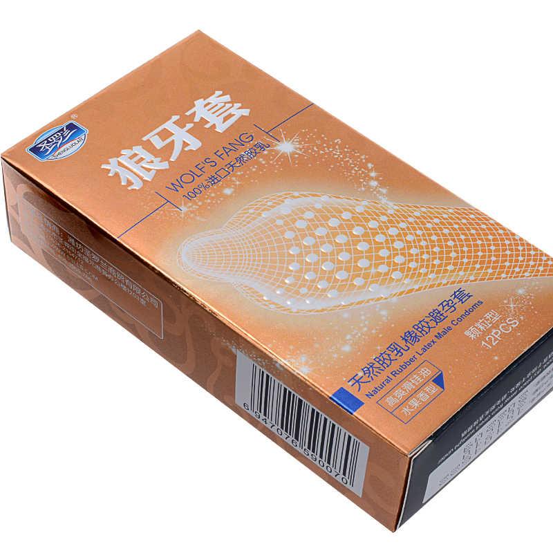 24 Buah/Banyak Kualitas Tinggi Besar Partikel 3D Spike Dihiasi Ribbed G-Tempat Kondom Lateks untuk Pria Kontrasepsi Kondom Dewasa mainan Seks