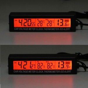 Car Thermometer Voltmeter Auto