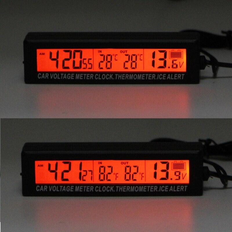 Termômetro do carro voltímetro auto interior ao ar livre termometro temperatura medidor de tensão despertador 95x15mm azul laranja backlight