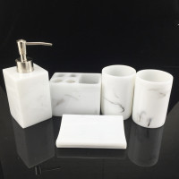 Marble texture White Resin 5pcs Bathroom Set Wedding Toiletries Creative Brushing Cups Bathroom Supplies Home Decoration Gift