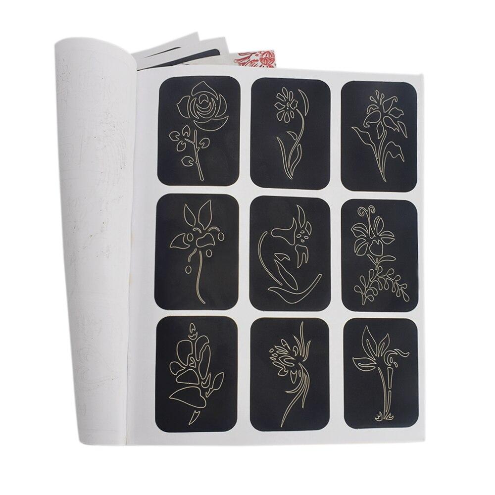 169pcs/Lot Body Art Reusable Sticker Stencils Book For Tattoo Painting Template Party Airbrush Glitter Tattoo Stencil Set Album