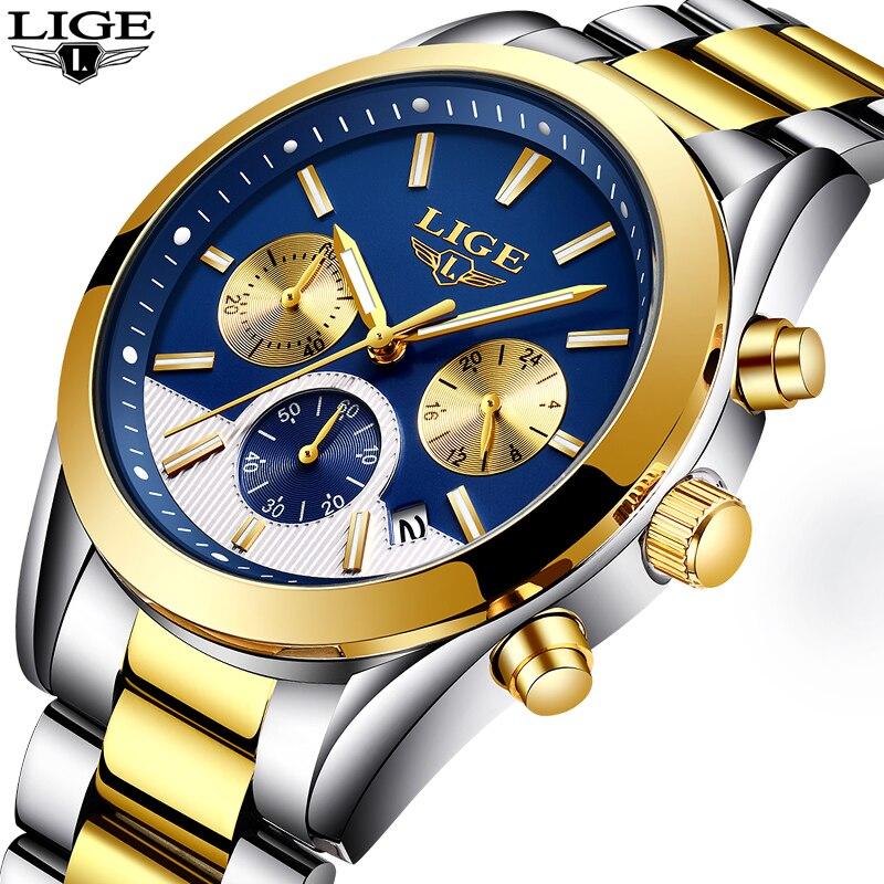 LIGE Mens Montres Marque De Luxe Montre Hommes De Mode D'affaires de Quartz Étanche en acier Plein de Sport Or Montre-Bracelet Relogio Masculino