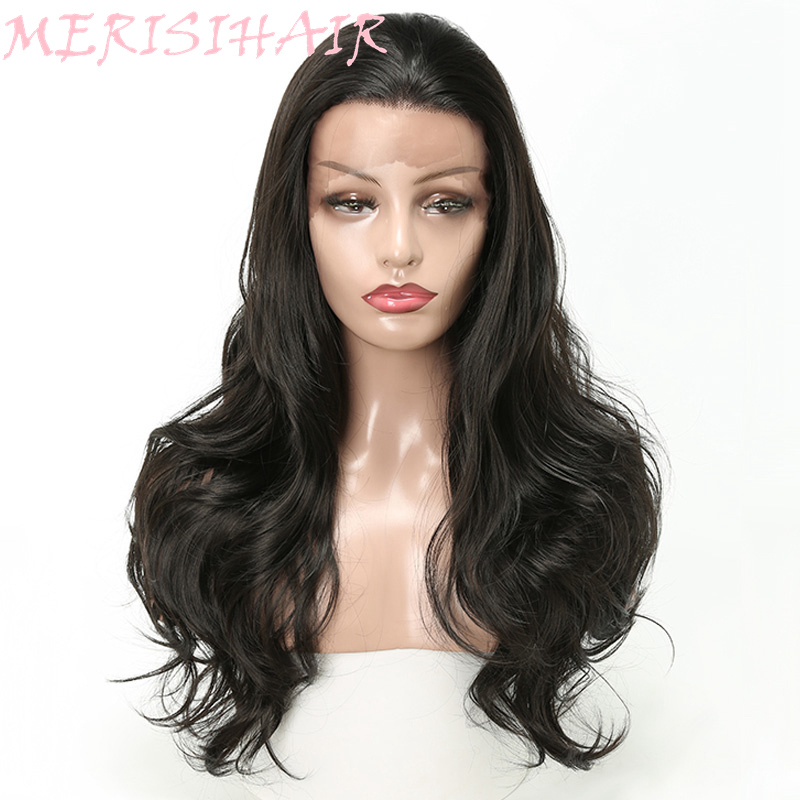 Merisi Hair 20Inch Long Wavy Lace Front Wig Black 2Colors Available Synthetic Hair Wigs For Women High Temperature Fiber