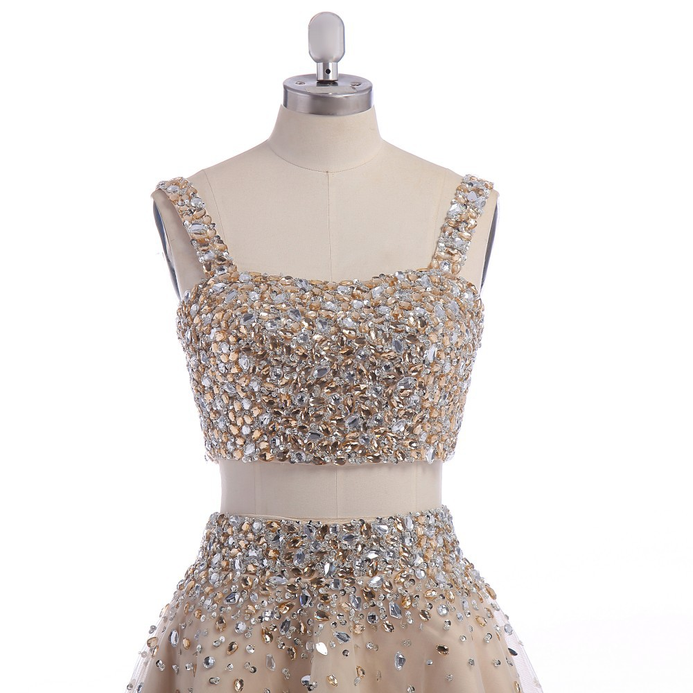 Champagne Crystal Homecoming Dresses Dillards Spaghetti Straps Knee ...