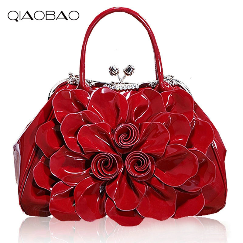 QIAOBAO 2018 Bride fashion Totes women's messenger bag Patent Leather bag Flower bags shoulder womens handbags
