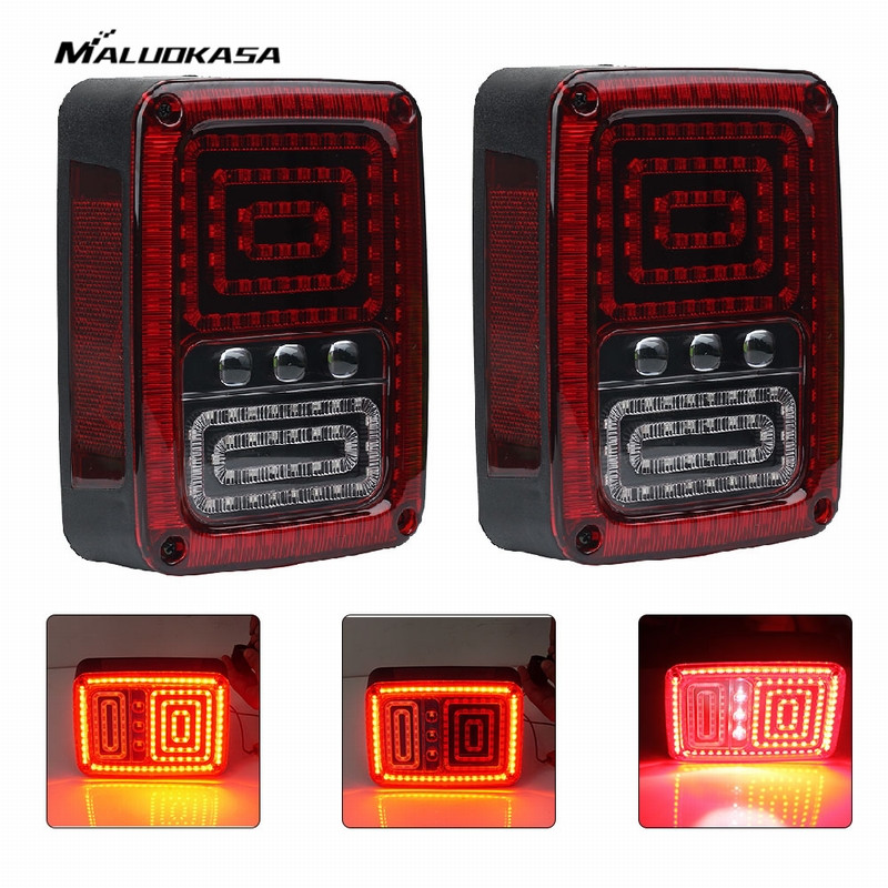 MALUOKASA 2PCs US Plug Rear LED Reverse Light For Jeep JK Wrangler 07-17 SUV DRL Tail Lamp Brake Top Light Auto Turn Signals high quality stainless steel black light guard rear taillights cover for 07 17 jeep wrangler jk 2 door
