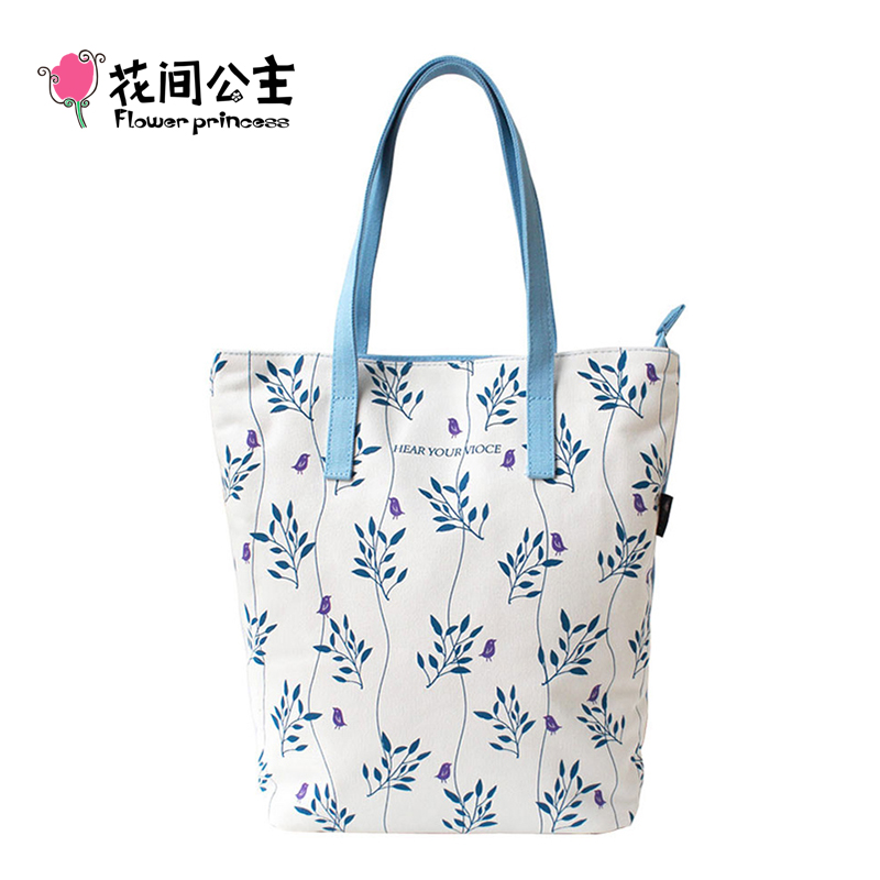 Flower Princess Brand 2017 Women Canvas Bags Ladies Fashion Shoulder Bag Handbags Girl Summer Tote Bag bolsas feminina D001 aosbos fashion portable insulated canvas lunch bag thermal food picnic lunch bags for women kids men cooler lunch box bag tote