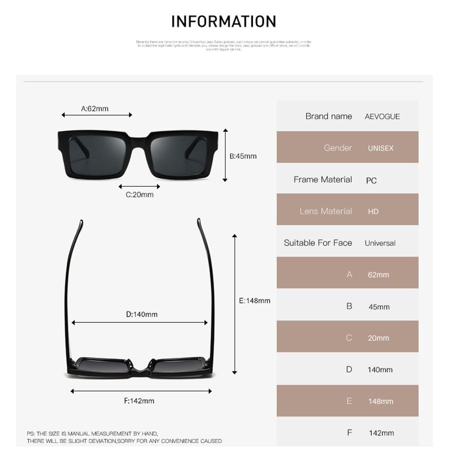 AEVOGUE Sunglasses Women Rectangle Frame Transparent Brand Designer Retro Sun Glasses Unisex Square Brown UV400 AE0664 2