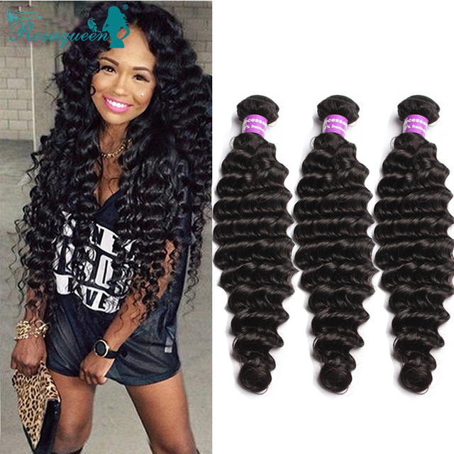 Deep Wave Brazilian Hair 3 Pcs/Lot Mink Brazilian Hair Weave Bundles Virgin Brazilian Deep Wave Rosa Queen Hair Products