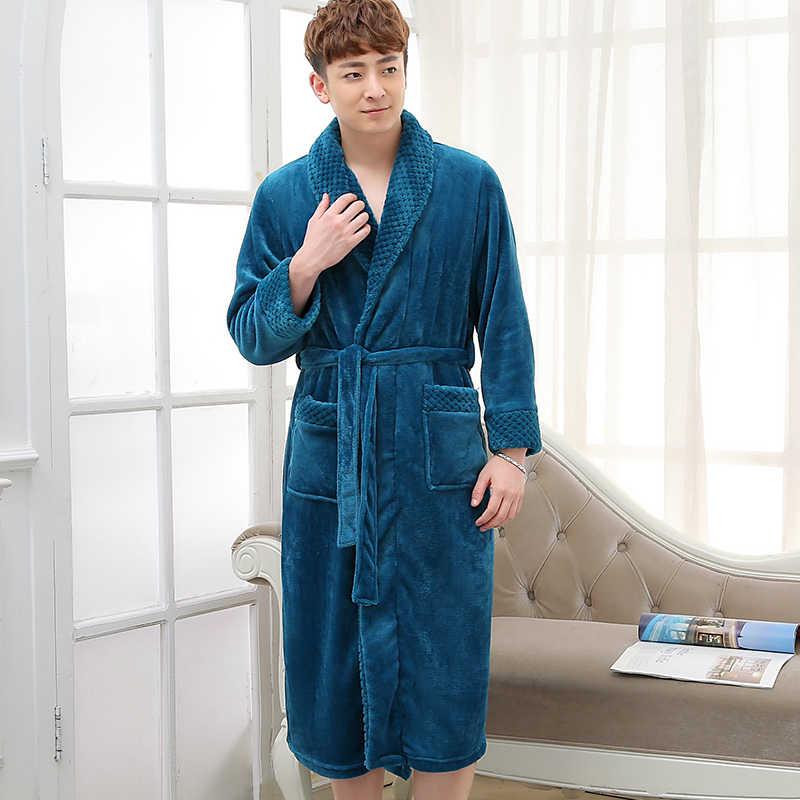 Новый модный мужской удлиненный теплый халат шелковый мягкий фланелевый зимний банный халат мужской халат кимоно халаты мужские халаты