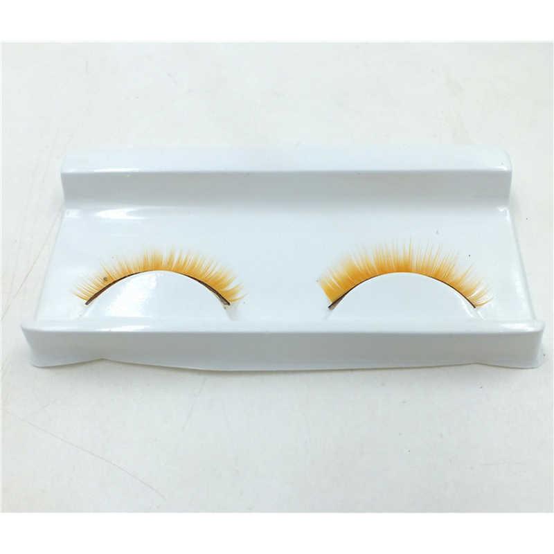 5 pares de manchas de color amarillo pestañas postizas exageradas cola de ojos alargada pestañas de ojos amarillos para fiesta