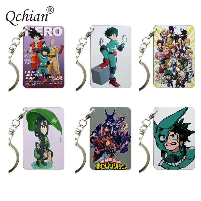 Wooden Single-Sided and Transparent Acrylic Keychain Hero Academia Color Picture Series Colorful Decorative Pendant Jewelry