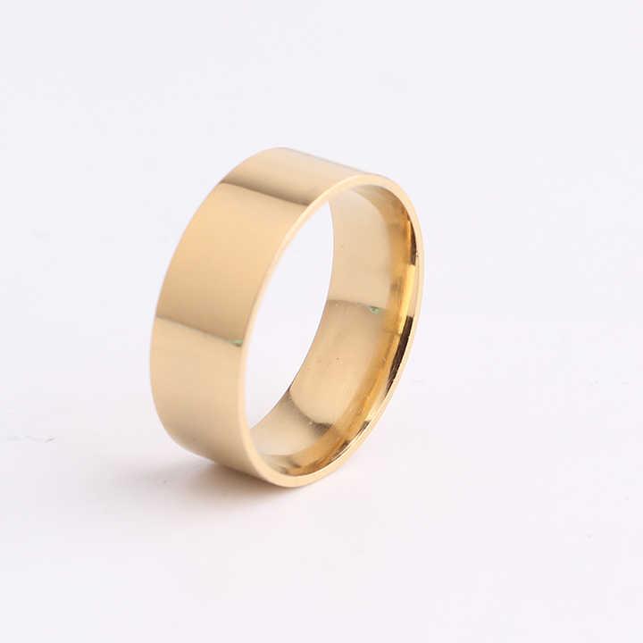 จัดส่งฟรี 8 มม.ทองสีแผ่นความหนา 316L สแตนเลสสตีลแหวนสำหรับผู้ชายผู้หญิงขายส่ง
