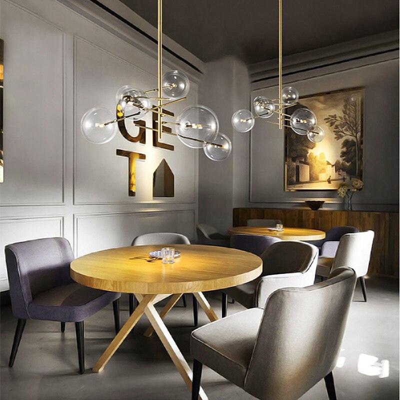 Moderno e minimalista Rotante Luci di Soffitto del Led Lampada Rotonda Sfera di Vetro Creativo Appendere le luci di ferro Ha Condotto La G4 lampadina Interna Bar A Casa oro - 5