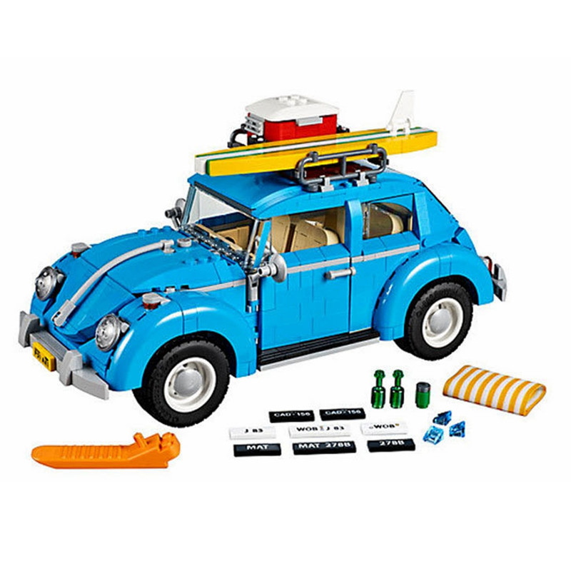 1193pcs Diy Creator Series City Car Blue Beetle Model Building Blocks Compatible With Legoingly Bricks Toy For Children Gift new lepin 21003 series city car beetle model educational building blocks compatible 10252 blue technic children toy gift