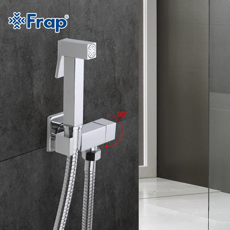 Frap 1 Set Solid Brass Single Cold Water Corner Valve Bidet Function square Hand Shower Head Tap Crane 90 Degree Switch F7502