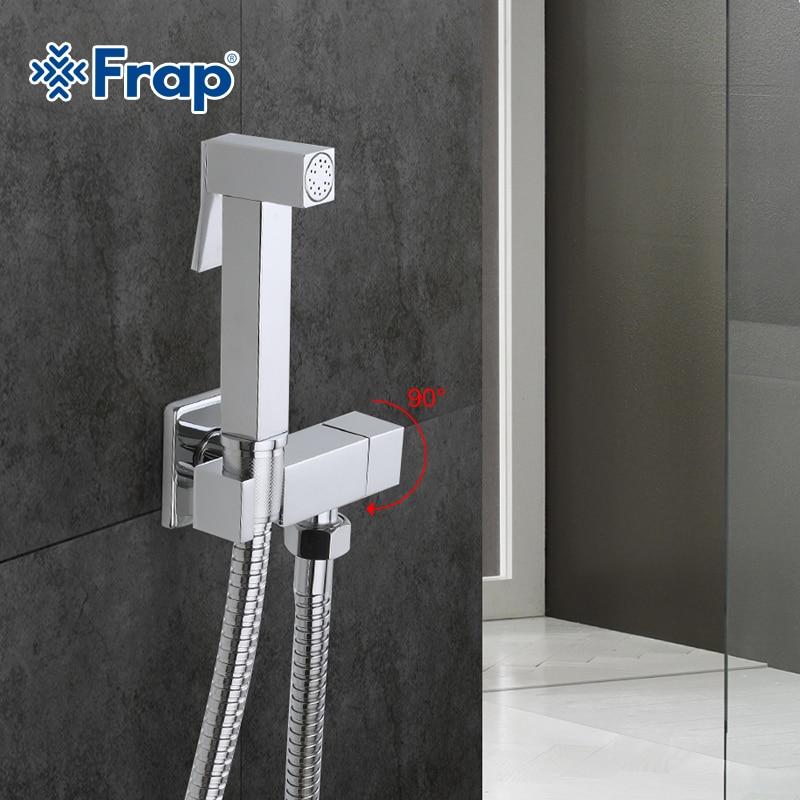 Frap 1 Set Solid Brass Single Cold Water orner Valve Bidet Function square Hand Shower Head