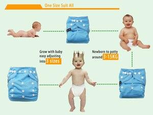 Image 5 - [Littles & Bloomz] 9 Stks/set Baby Wasbare Herbruikbare Echte Doek Pocket Luier, 9 Luiers/Luiers En 0 Microfiber Inserts In Een Set