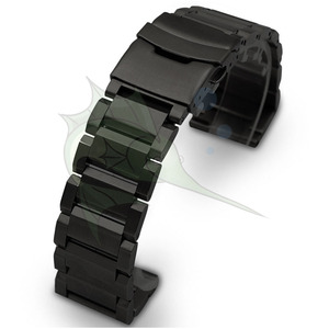 Image 5 - High End Black Silver Stainless Steel Watch Strap 23mm 25mm Flat Type Bracelet Stainless Steel Watchband