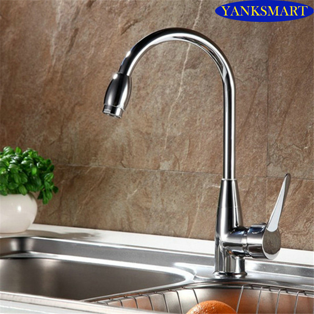 360 Swivel Kitchen Basin Sink Mixer Tap Fashionable Chrome Counter Top Kitchen Faucet Mixer Single Handle