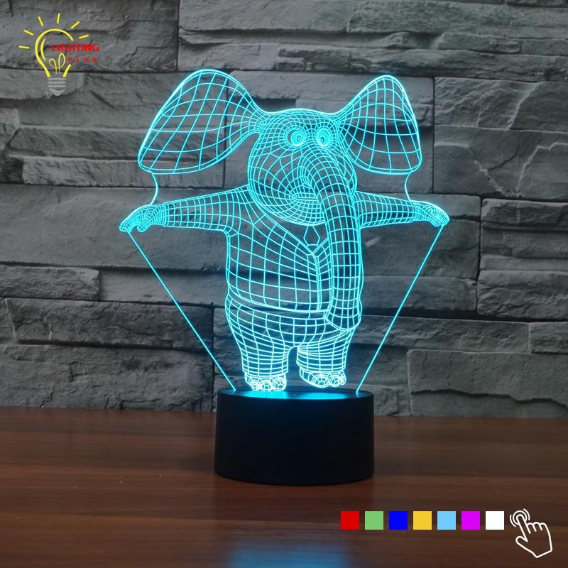 Novelty Luminaria 3D Lamp Animal Elephant LED Night Light Baby Bed Light Kids Room LED Children's night lamps Home Decor