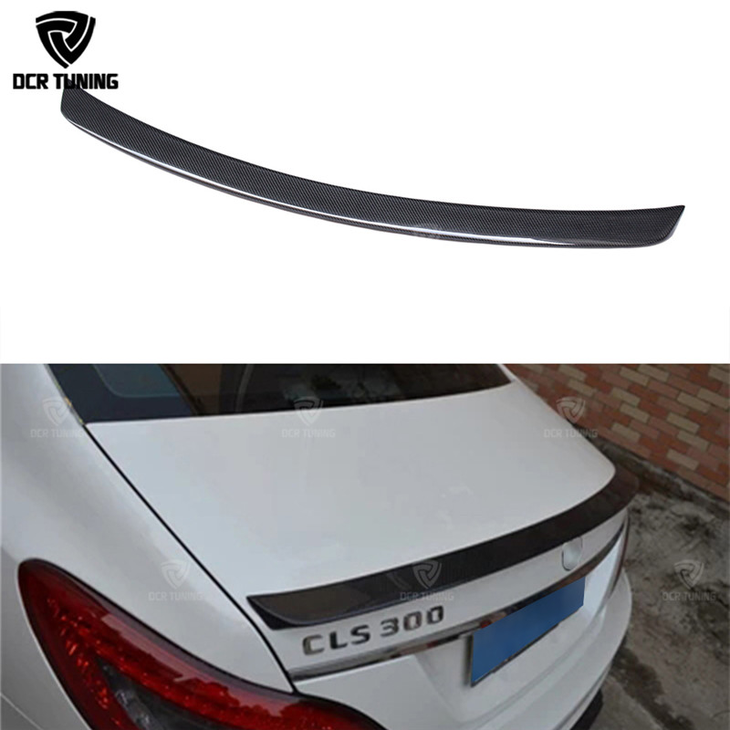 For Mercedes CLS Spoiler Cls Class W218 Carbon Fiber Rear Trunk Spoiler CLS 350 550 500 cls63 spoiler AMG Style Wing 2011 - UP mercedes carbon fiber trunk amg style spoiler fit for benz e class w207 2 door 2010 2015 coupe convertible vehicles