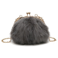 Popigist Winter New Handbags High Quality Fashion Leisure Small Round Bags Plush Mini Women Bag Sweet