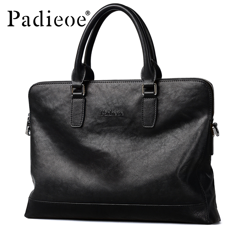 Padieoe Men's Briefcase Laptop-Bag Travel Portfolios Shoulder-Bag Business Genuine-Cow-Leather