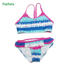 цена на Girls Swimsuit biquini infantil swimwear girl Kids swim suit two pieces bathing suit for Children bikini set 2-6 years