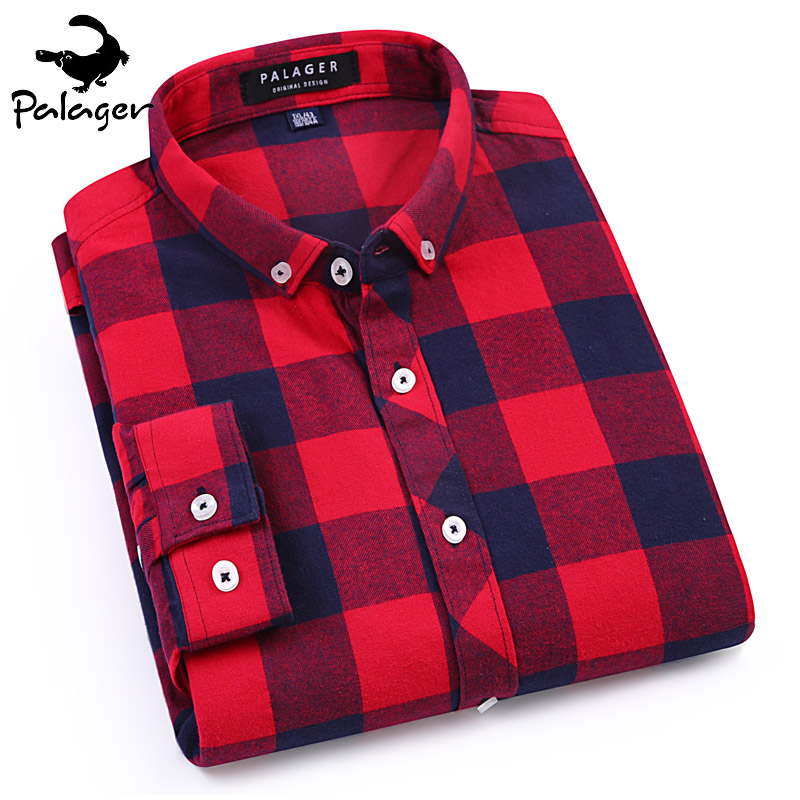 Palager 2017 mens flannel shirt long sleeve red and black for Mens slim fit flannel shirt