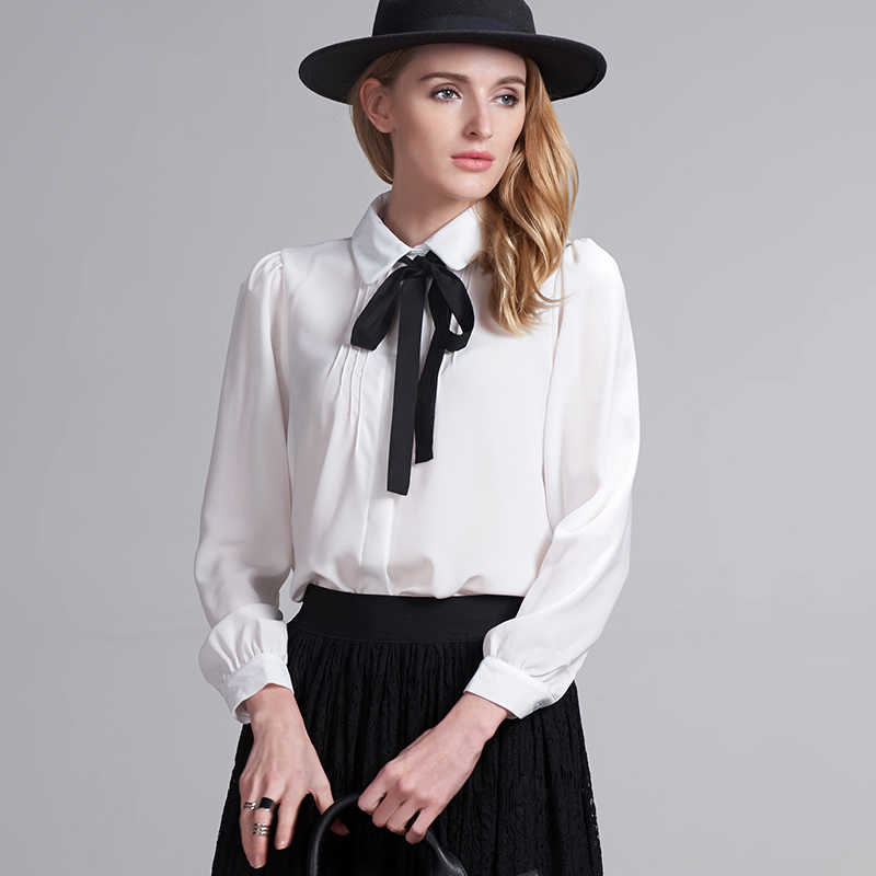 3e342766d66ed Fashion female elegant bow tie white blouses Chiffon peter pan collar  casual shirt Ladies tops school