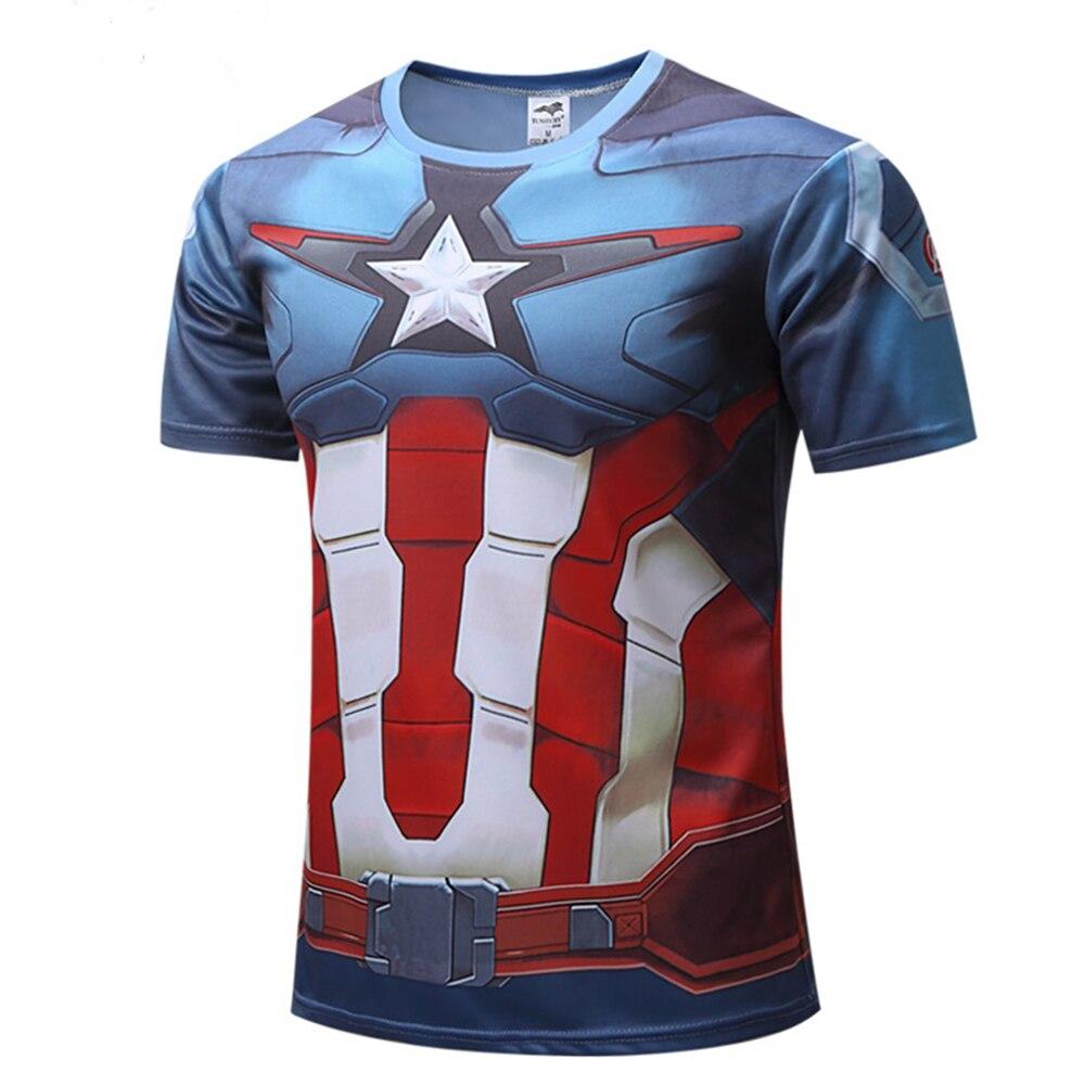 2018 Nuevo 3D Capitán América Tops Camisetas Verano Fitness - Disfraces