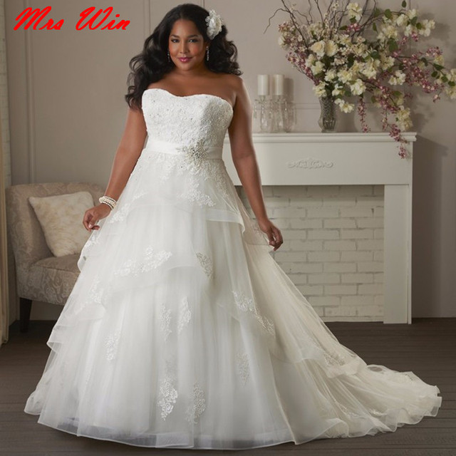 Lace Plus Size Wedding Dresses 2017 A Line Country Western Tulle African Bridal Bride