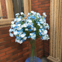 Length 83cm Artificial Cherry Blue Sakura Flowers Christmas Hotel Office Garden Wedding Home Party Bouquet Decoration