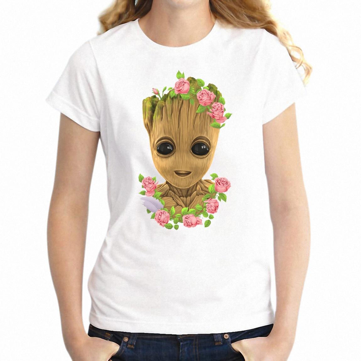 Women S T Shirt Cute Baby Groot Guardians Of The Galaxy