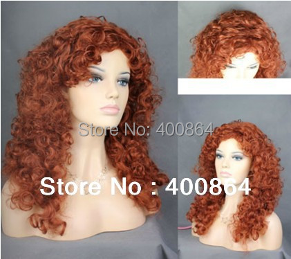 "Free shipping Fashion 20"" Lovely Long Curly Fox Red skin top Versatile Hair Ladies Wig #130"