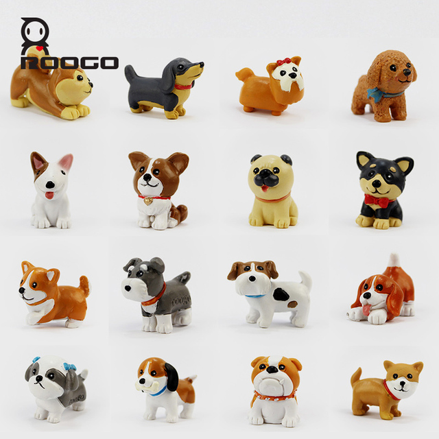 Roogo Garden Decoration Cute Cartoon Animals Resin Dog Miniature Figurines  Garden Statues Dogs Tabletop Home Office