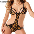 ChenaWolry 1 ШТ. Горячие Продажи Привлекательный Роскошные 2016 Сексуальное Женское Белье Leopard Сиамские Пижамы Дикий Соблазн Игра Униформа 3 Ноября