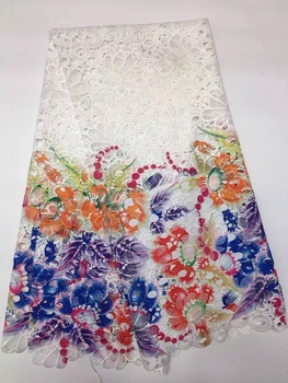 Free shipping,new design French net lace fabric with sequins Exquisite embroidery African french lace fabric blue