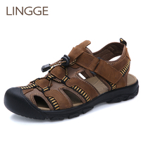 LINGGE Genuine Leather Summer Men Sandals Breathable Men'S Shoes Beach Slippers Cross Tied Outdoor Walk Men Shoes Big Size 38 47