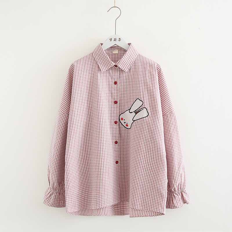 Open-Minded Kyqiao Women Cartoon Rabbit Embroidery Shirt 2019 Mori Girls Autumn Spring Japanese Style Kawaii Design Long Sleeve White Blouse Women's Clothing