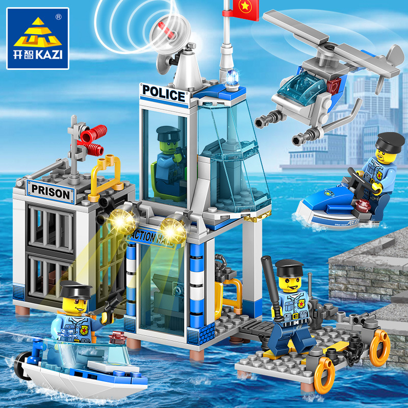 KAZI 536Pcs LegoING City Police Station Building Blocks Sets Helicopter Ship Policeman Bricks Educational Toys for Children police station building blocks sets model 300pcs helicopter speedboat educational diy bricks toys for children ts10121