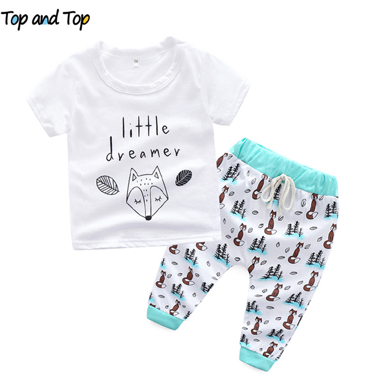 T-Shirt Outfits-Sets Baby-Boys-Girls Short-Sleeve Cartoon Top And 2pcs Letter Casual
