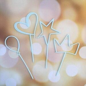 Image 4 - Акриловый Топпер для торта, 4 шт./лот, милая корона в форме сердца, звезда, Топпер для капкейка на свадьбу, День Святого Валентина вечерние ринку, Baby Shower, украшения для торта