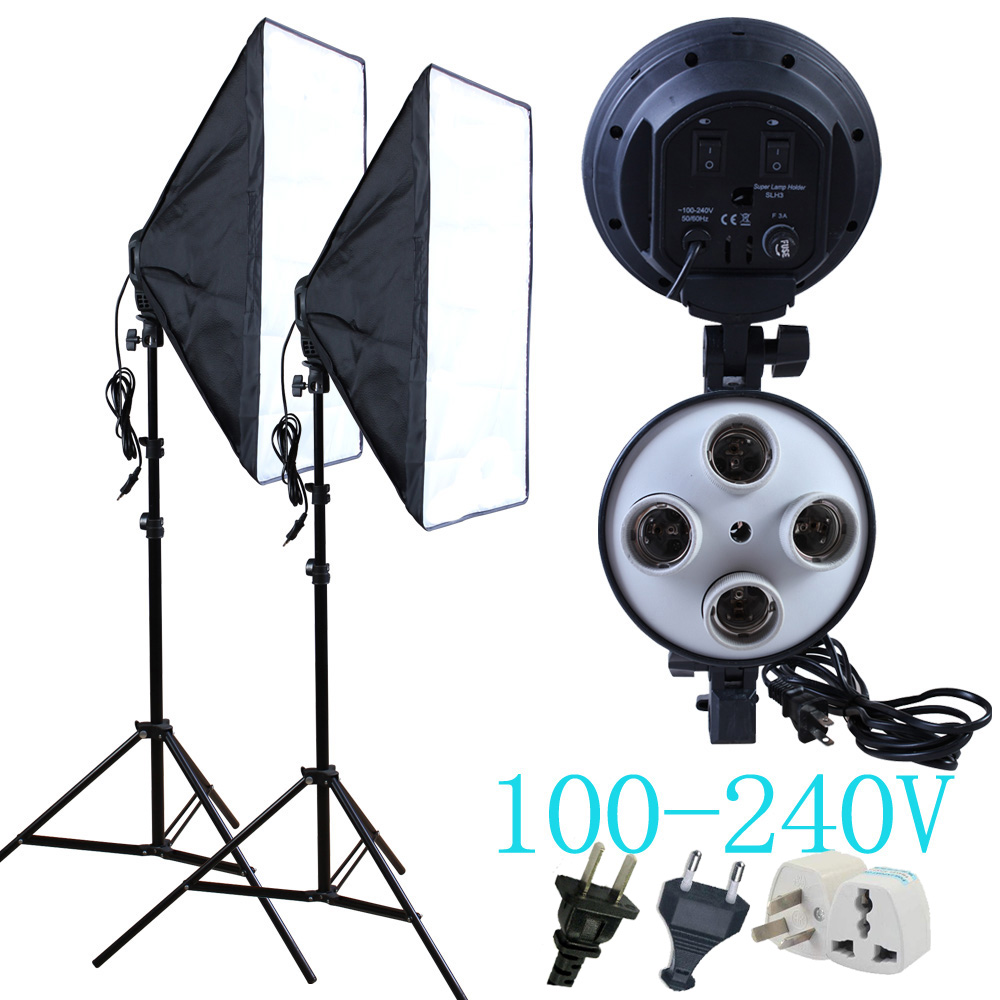 Yuguang photography Diffuser 100 240v Four Lamp Holder With 50 70cm Continuous Lighting Softbox Light Stand