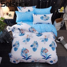 Solstice Cartoon/leaves/fruit/Striped Lattice Style 4pcs Bedding Set Cotton Bed Cover Bed Sheet Duvet Cover Pillowcase Bed Linen