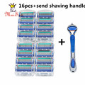 16 pcs/lot Muisuu Quality proglide Standard for RU&US Fusione Power 5 Muisuu shaving razor blade &1 pcs Shaver handle for mens
