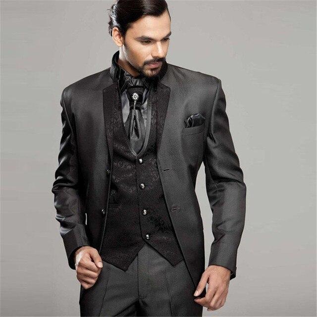 1daf424cbee7 2019 último abrigo pantalones diseños soporte collar negro hombres trajes  chalecos florales para fiesta de graduación italiano traje elegante terno  ...