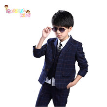 Fashion Three-piece Teen Suit Set Gentleman Boy Blazer Clothes Plaid Vest+Jacket+Pants Kids Wedding Party Boys Clothing Set